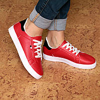 Кроссовки кеды женские Italiano красные, белые кроссовки