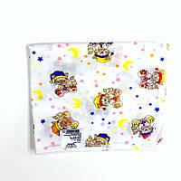 Ситцевая  пеленка (белая с разноцветными котиками)