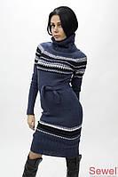Зимнее вязаное платье c поясом