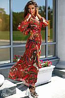 Красивое женское платье в пол приталенного фасона с ярким абстрактным принтом рукав длинный шифон