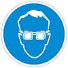 Наклейка: Работать в защитных очках 150х150