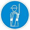 Наклейка: Работать в страховочном поясе 150х150