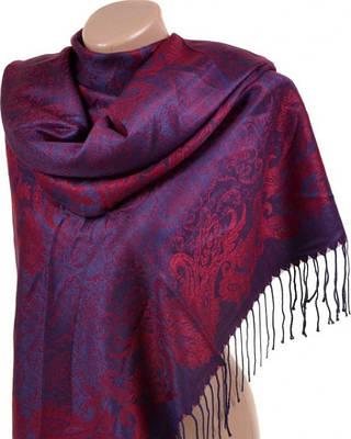 Шикарный женский кашемировый палантин размером 70*180 см Подиум 32080-5 (фиолетовый с красным)