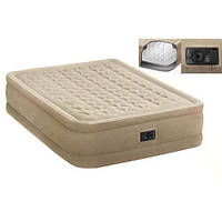 Надувной велюр-матрас Intex 64458,надувная кровать 152*203*46см со встроенным насосом