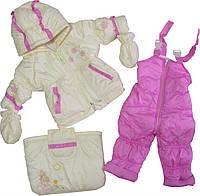 Демисезонный костюм-тройка для девочки 74-80-86 см.