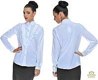 Женская блуза -рубашка с воланами. Цвет: белый, голубой, красный, персик, синий Размеры: S, M, L, XL OD 5194
