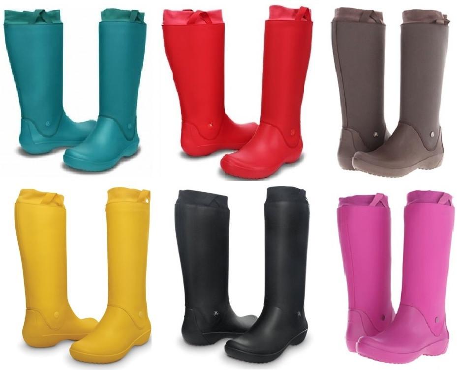 8b88959fee1c Сапоги резиновые женские высокие мягкие с манжетом Crocs Women's RainFloe  Boot / дождевики