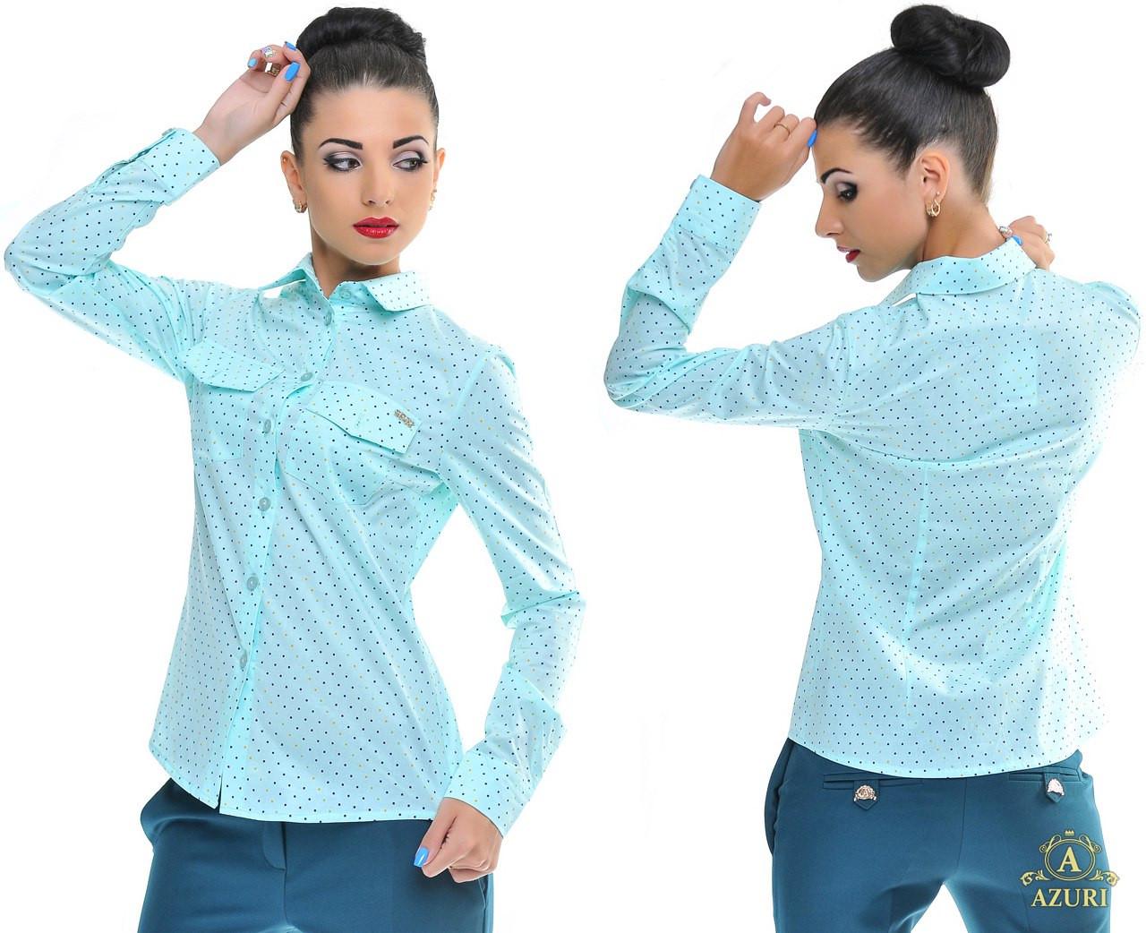 e92a1a474b5 Женская рубашка в горох с длинным рукавом. Цвет  голубой