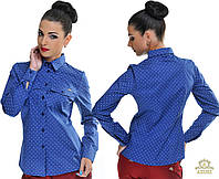 Женская рубашка в горох с длинным рукавом. Цвет: голубой, синий, белый, мята, розовый Размеры: S, M, L,XL OD