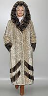 Эко Шуба с капюшоном,Бежевый леопард 42-44,46-48,50-52