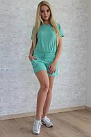 """Летний женский костюм из хлопка """"Мonika Melanj"""" шорты и футболка с капюшоном (2 цвета)"""