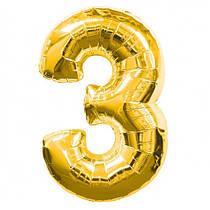 Шар фольгированный Flexmetal цифра 3 золото 90 см