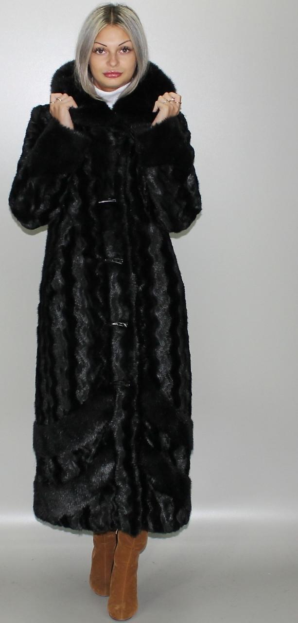 Шуба с капюшоном,черная норка 44-46,48-50,52-54,56-58