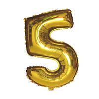 Шар фольгированный Flexmetal цифра 5 золото 90 см
