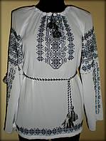 """Вишиванка жіноча  """"Зірка матері"""". Вишита на білому шифоні чорними нитками, блуза, машинна вишивка"""