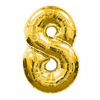 Шар фольгированный Flexmetal цифра 8 золото 90 см