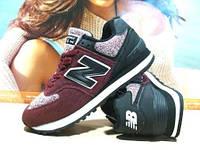 Кроссовки женские New Balance 574 бордовые 36 р.