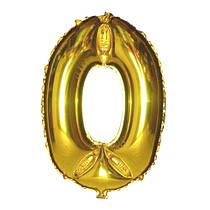 Шар фольгированный Flexmetal цифра 0 золото 90 см