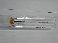 Кисточки для макияжа YRE Nail Art Brush (4шт, плоские, прозрачные) , набор кистей