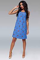 """Прямое летнее платье без рукавов """"Berries"""" с вышивкой и карманами (большие размеры)"""