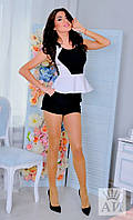 """Летний женский костюм """"Cooper"""" мини-шорты и топ с баской (3 цвета)"""
