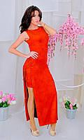"""Оригинальное замшевое платье """"Alexia"""" с разрезами и шнуровкой по бокам (2 цвета)"""