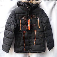 Курточка юниор на мальчика зима (L - 4XL ) на халлофайбере + искуственный мех купить оптом дешево
