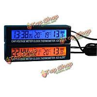 Ec88 3в1 функции автомобиля часы и вольтметр и термометр синий оранжевый двойной цветной дисплей