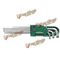 9pc 1 комплект шестигранный ключ 1.5-10мм ручной инструмент шариковая конец серебро тон, фото 1