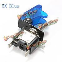 5x синий покрытие автомобиля LED SPST переключатель управления тумблер 12v 20а, фото 1