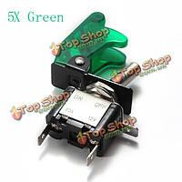 5x зеленый покров автомобиля LED SPST переключатель управления тумблер 12v 20а, фото 1