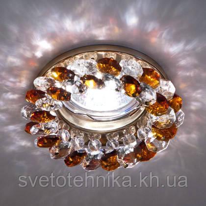 Встраиваемый декоративный светильник с кристаллами Feron CD4141 коричневый - золото