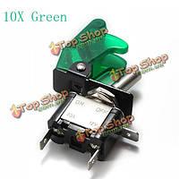 10x зеленый покров автомобиля LED SPST переключатель управления тумблер 12v 20а, фото 1