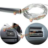 4mx8мм U-образный сброса воздуха автомобиля решетка переключатель обода молдинг литье хром серебро