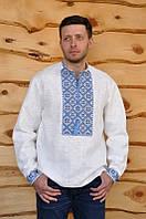 Вышиванка мужская с голубым орнаментом