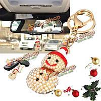 Автомобильная рождественская автомобильная цепочка для ключей кулона снеговика металла жемчуга украшений звонит подарок