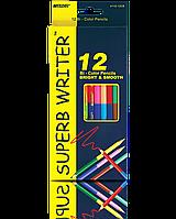 """Карандаши Цветные 12цв. №4110-12CB """"MARCO"""" Superb Writer двухсторонние."""