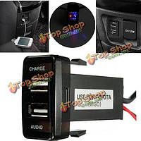 12v 5V 2.1a USB порт сотовый телефон MP3 зарядное устройство и аудиовход для Toyota Lexus Scion