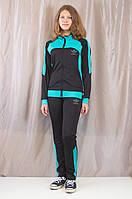 Модный стильный женский спортивный костюм Adidas из ластика, черный.