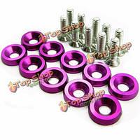 Фиолетовые m6x20mm алюминиевые моечные машины бампера буфера на 10 пк с болтами наряжают для Хонды