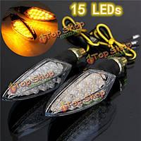 Универсальные 12v 15 LED мотоцикл сигнала поворота индикатор желтый свет