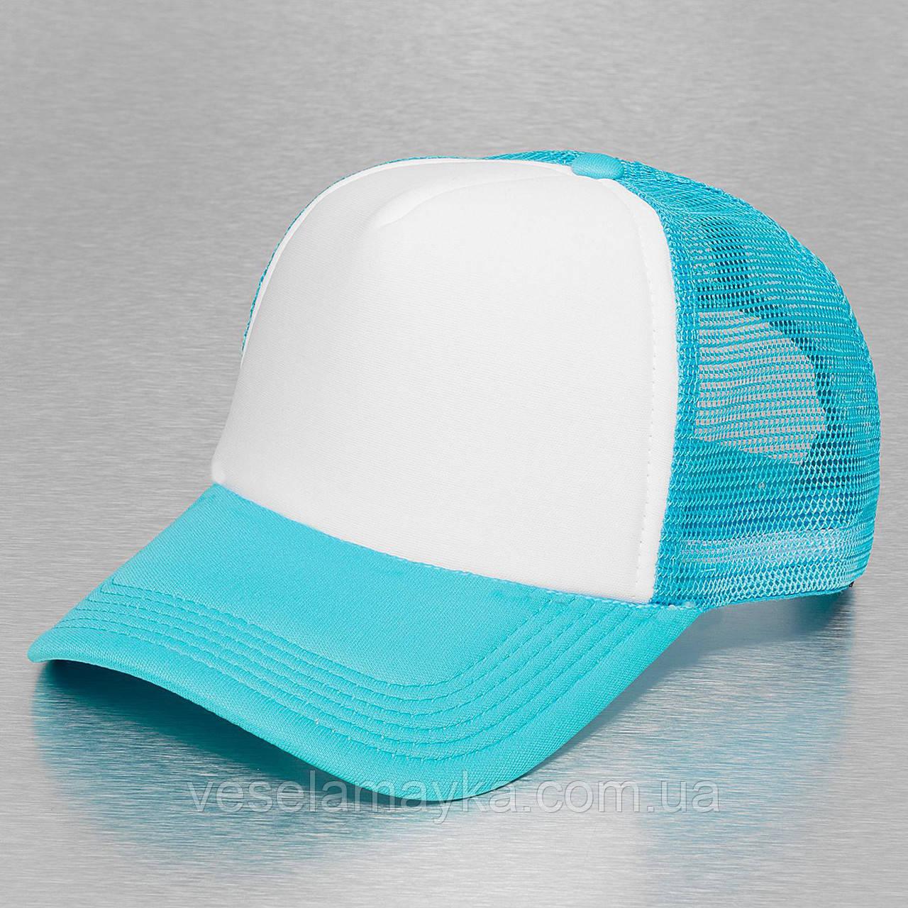 Бірюзова кепка тракер з білим