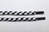 Шнурки 5мм плотные белый+т.синий, фото 1