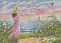 Схема для вышивки Девушка на берегу