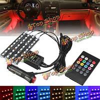 RGB LED интерьер автомобиля атмосфера свечение стикер полосы света пульт дистанционного управления