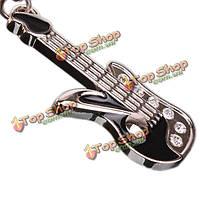 Мило серебро брелок мини гитара брелок цепи Swarovski Crystal