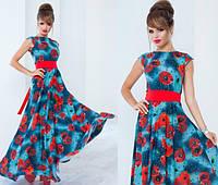 Длинное платье с маками в расцветках 553 (1076)