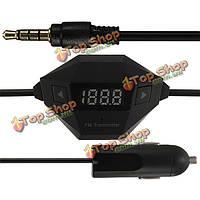 3.5мм FM-передатчик+Автомобильное зарядное устройство USB радио адаптер для MP3 MP4 для