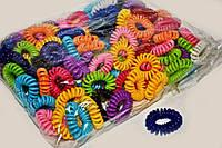 Цветные резинки пружинки для волос упаковка 100 шт.