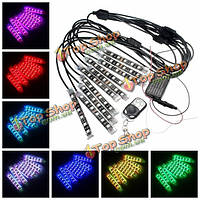 10шт 12v LED RGB интерьер автомобиля атмосфера фары мотоцикла светильник украшения кнопки контроллера красочные